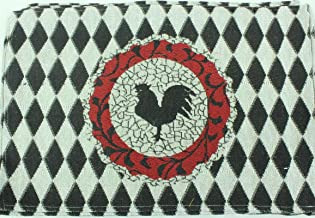Dining Place Mat Set Country Rooster Black Tapestry Woven Decorative 13 x 19 Kitchen Machine Washable Vintage Looking Decor