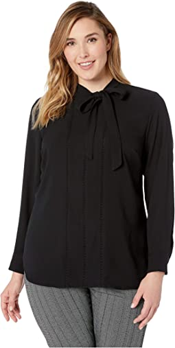 Plus Size Necktie Georgette Blouse