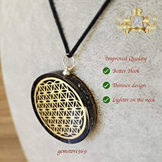 GEMSTORE369 Black Tourmaline Orgone Pendant | Flower of Life Symbol | EMF Protection | 2 inch Diameter with Adjustable Necklace | Reiki Infused (Black)