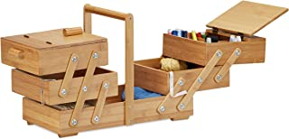 Relaxdays XXL Bamboo Sewing Box, Many Compartments, Foldable, Empty Organizer Basket, HWD 30 x 44 x 22 cm, Natural