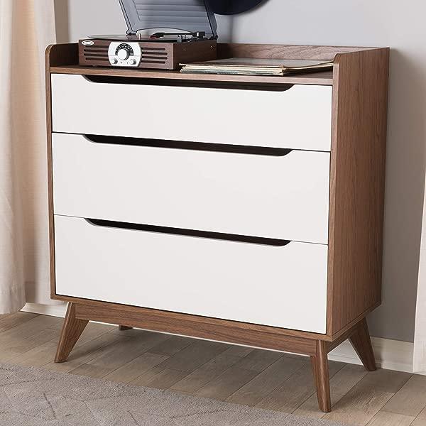 Baxton Studio 3 Drawer Storage Chest In White And Walnut