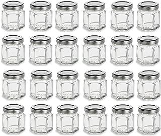 Nakpunar 24 pcs 1.5 oz Hexagon Glass Jars with Silver Lids - 45 ml