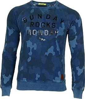 Scotch & Soda Mens Blue Crewneck Printed Sweater