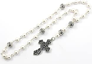 Anglican Prayer Beads with White Swarovski Pearls with Ornate Cross, Anglican Rosary, Pearl Prayer Beads, Custom Rosary