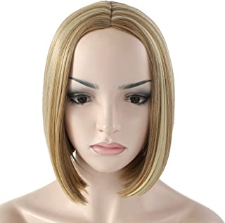 """OneDor 11"""" Short Straight Middle Part Synthetic Heat Resistant Bob Wigs, Full Head Hair Wigs for Women, Girls (R1488H - Highlighted Blonde)"""