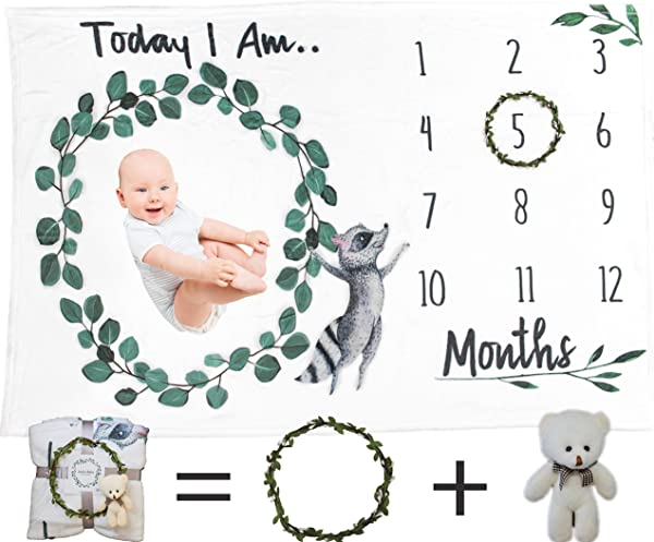 Baby Milestone Blanket Set For Boy Or Girl Baby Shower Gift Ready Monthly Photography Background Soft Thick Premium Fleece Material Wreath Crown Baby Bear 60x40