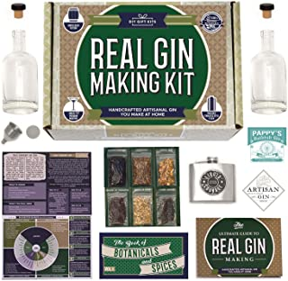 Real Homemade Gin Kit & Stainless Steel Personalized Flask, For Making Delicious Martinis, Gin and Tonics, Spirits & Cocktails At Home   Botanicals, Recipe Guides, Bottles & Labels & More