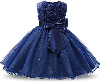 NNJXD Robe Filles Cérémonie Bébés Filles Robes de Bal de Mariage d'anniversaire de fête Fleurs 3D Robes de Filles Princesse