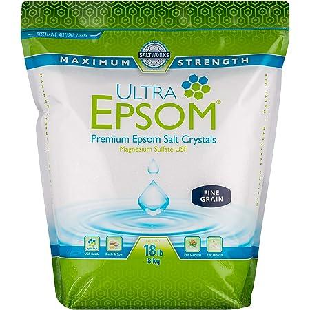 SaltWorks Ultra Epsom Bath Salt, Fine Grain, Unscented, 18 Pound Bag