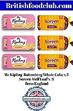 Bundle of 6 - Mr Kipling Battenberg Whole Cake x 3 Soreen Malt Loaf 190g x 3 Delivers 3-5 Days USA