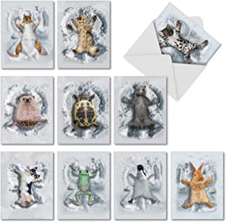 Critter Snow Angels - 10 Adorable Animal Note Cards with Envelopes (4 x 5.12 Inch) - All Occasion Blank Greeting Notecard Set for Holidays, Kids - Funny Pet Cat, Dog, Bear Cards M4187OCB-B1x10