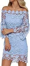 Auxo Women Off Shoulder Floral Lace Dress Vintage Bodycon Slim Long Sleeve Midi Party Cocktail Dressess