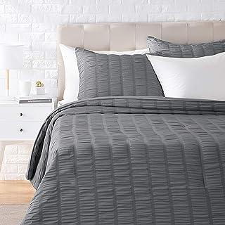 Amazon Basics Seersucker Comforter Set - Premium, Soft, Easy-Wash Microfiber - Full/Queen, Dark Grey