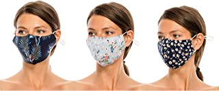 Beyond Trim 3 Pack Adult Women Face Covering Printed Fabric Cloth Protection Cover Reusable Washable Breathable