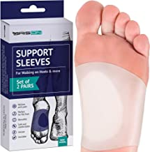 Gel Arch Support Set - Soft Silicone Clear Reusable Arch Sleeves for Flat Foot Pain Relief Plantar Fasciitis Support Cushioned Arch and Heel Spurs - Women Men - Large M5-13 / W7-14
