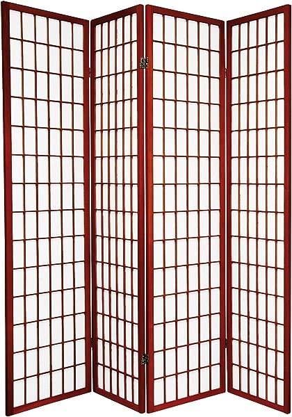 Legacy Decor 4 Panel Folding Shoji Screen Room Divider Cherry Finish