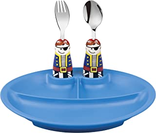 Eat4Fun Duo Collection Eat & Play 3-Piece Dinnerware Set, (Blue Plate, Pirate Spoon & Pirate Fork)