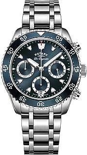Rotary - Giratorio Legacy Ocean – Mono de Hombre Reloj de Cuarzo con cronógrafo Azul y Plata Pulsera de Acero Inoxidable gb90170/05