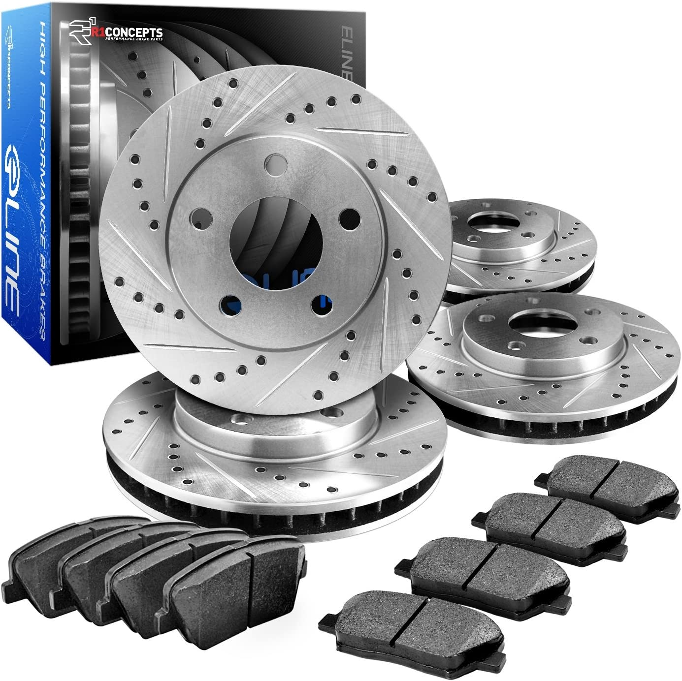 Power Stop K4056 Front and Rear Z23 Evolution Brake Kit with Drilled//Slotted Rotors and Ceramic Brake Pads