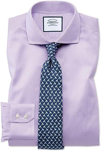 Chemise violets pied-de-poule extra slim fit sans repassage à col cutaway
