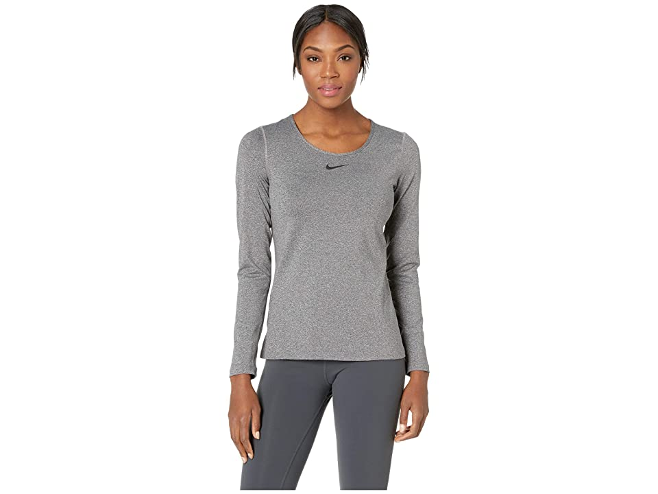 Nike Pro Warm Crew Top (Charcoal Heathr/Dark Grey/Black) Women