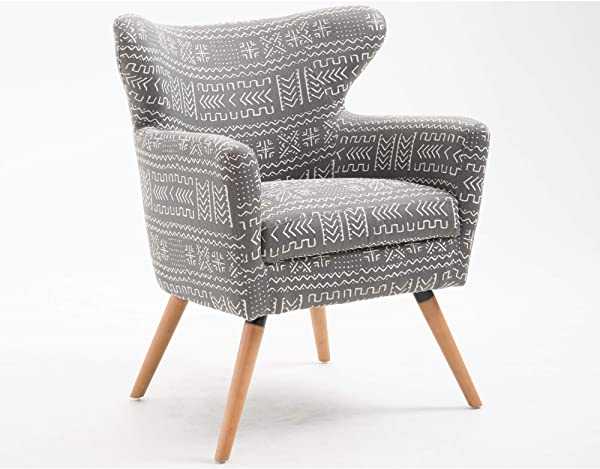 Zene Accent Chair In Rock Gray With Graphic Upholstery And Tapered Legs By Artum Hill