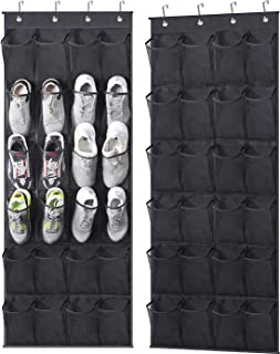 MISSLO Over The Door Shoe Rack 24 Large Mesh Pockets Door Shoe Organizer Hanging for Closet Shoe Holder Storage Bags 2 Pac...