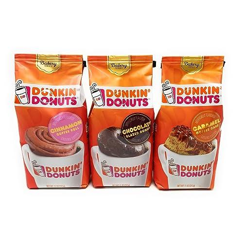 Dunkin Donuts Bakery Series Variety, Cinnamon Coffee Roll, Chocolate Glazed Donut, Plus Caramel Coffee Cake Flavored Ground Coffee, 11 Ounce Bags