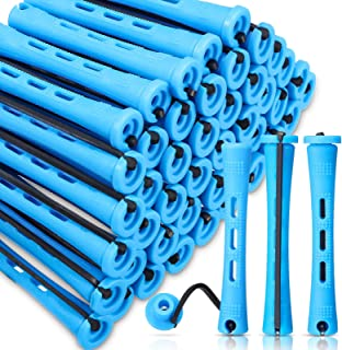 60 Pieces Hair Perm Rods Non-Slip Hair Rollers Plastic Cold Wave Rods Short Curlers Rod with Elastic Rubber Band Perming R...
