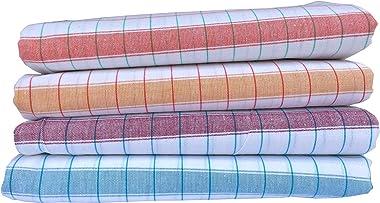 Cotton Colors Cotton Bath Towel(Pack of 4, Large Size,Colors: White, Chexs Design)