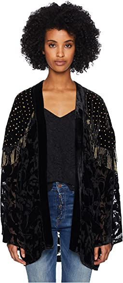 Burnout Kimono with Beaded Borders
