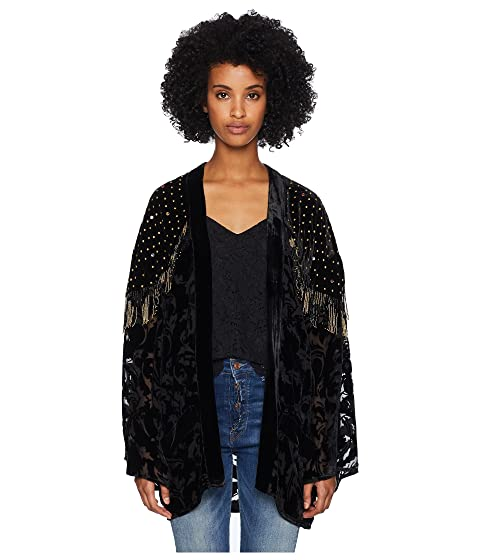 Sale 2018 New In UK Cheap Online The Kooples Burnout Kimono with Beaded Borders Black Free Shipping Eastbay er3HO9N
