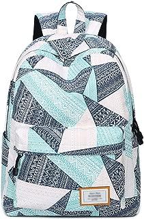 Mygreen Backpack for Teens, Fashion Geometric Pattern Laptop Backpack College Bags Women Shoulder Bag Daypack Bookbags Travel Bag (Blue&Green&Orange)