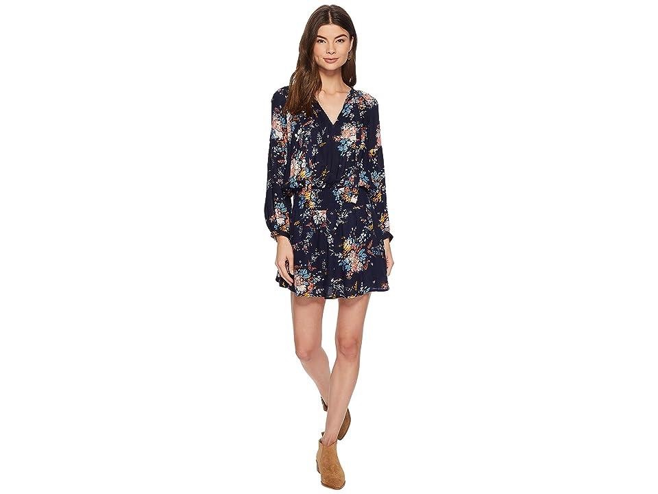 Lucky Brand Drop Waist Printed Dress (Navy Multi) Women