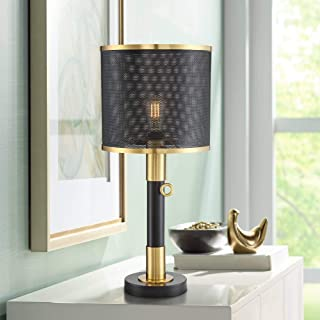 Helios Industrial Table Lamp LED Brass and Black Perforated Metal Shade for Living Room Family Bedroom Bedside Office - Possini Euro Design