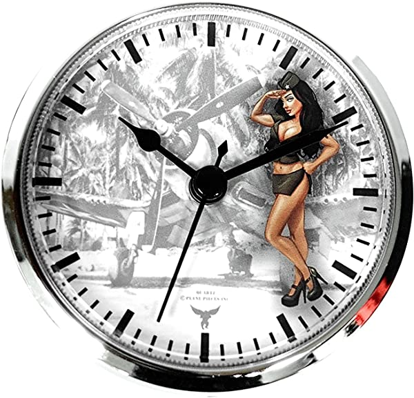 3 1 2 90MM PINUP NOSE ART ARMY SALUTE WWII AIRPLANE BRUNETTE FIT UP INSERT CLOCK