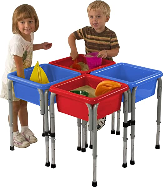 ECR4Kids Assorted Colors Sand And Water Adjustable Activity Play Table Center With Lids Square 4 Station