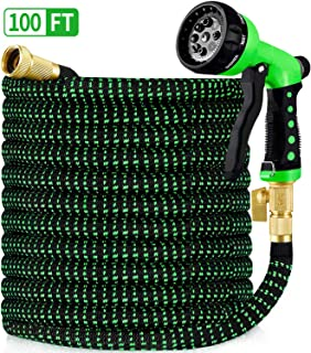"""HBlife 100ft Garden Hose, All New 2020 Expandable Water Hose with 3/4"""" Solid Brass Fittings, Extra Strength Fabric - Flexible Expanding Hose with Free Water Spray Nozzle"""