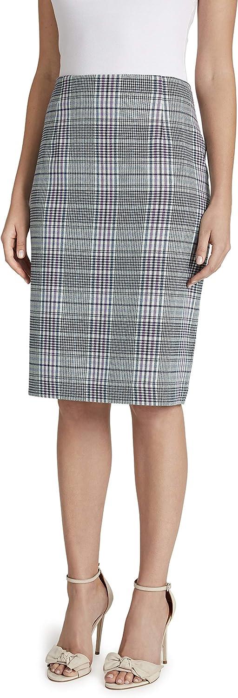 Tahari ASL Women's Houndstooth Plaid Pencil Skirt with Slit