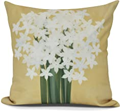 E by design Paper Whites Decorative Floral Throw Pillow, PHF976YE6-26, Gold, 26""