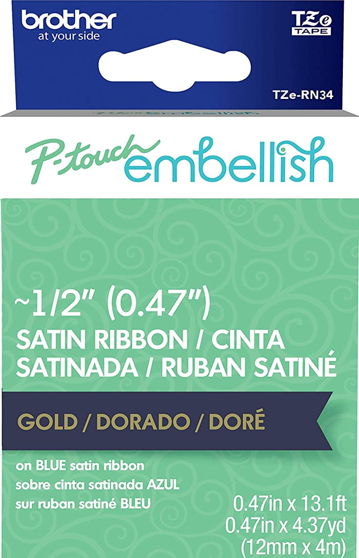 P-Touch Embellish Satin Ribbon-Gold On Navy Blue