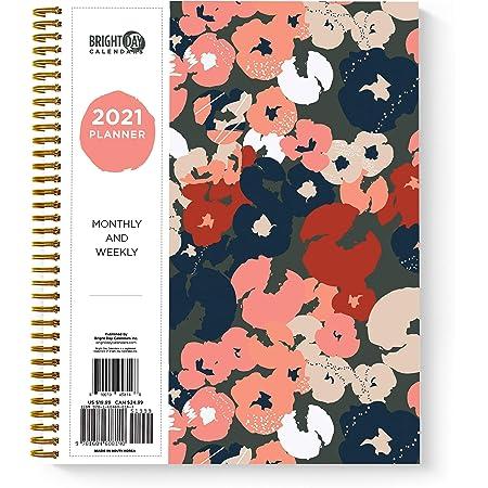 Bright Day Calendars 2021年芸術花年次プランナーバイブライトデイ、毎年毎月毎週毎週毎日のスパイラルバウンド日付アジェンダ柔軟なカバータブ付きノートブック