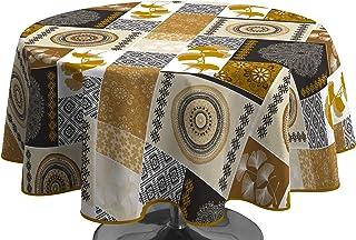 Le linge de Jules Nappe Anti-Taches Patchwork doré - Ovale 150 x 240 cm