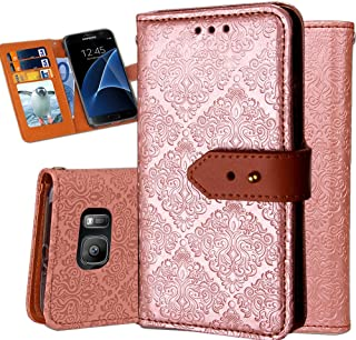 Galaxy S7 Edge Wallet Case,Auker Ultra Slim Vintage Leather Folio Flip Book Style Fold Stand Case Fashion Purse Carrying Phone Cover with Card Holders&Hidden Pocket for Samsung Galaxy S7 Edge (Gold)