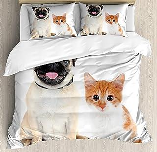 Juego de fundas nórdicas de 3 piezas, fotografía adorable de gatitos y cachorros Diversión animal linda Mascotas jóvenes Imagen feliz, juego de cama Colcha para niños / adolescentes / adultos / niños,
