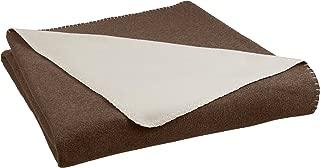 AmazonBasics Reversible Fleece Blanket - Twin/Twin XL, Chocolate/Tan