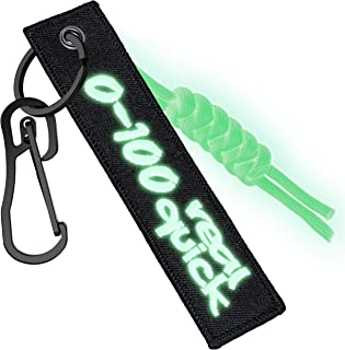 Keychain Tag for Motorcycle,Scooter,Car,Gift with Heavy Duty Carabiner Key Tag Lanyard and Glow in the Dark Paracord