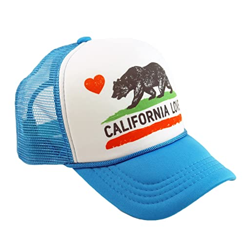 California Love Printed Mesh Hat Heart Bear Trucker Adjustable Baseball Cap