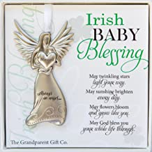 The Grandparent Gift Irish Baby Angel Ornament and Blessing Card for Baby Baptism, New Baby Boy or Girl