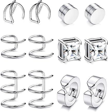 MonkeyJack 3 Pieces Wooden Women Mens Stainless Steel Stud Earrings Ear Plugs Piercings Screw Earrings